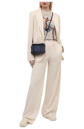 Женские хлопковые брюки LESYANEBO бежевого цвета, арт. SS21/Н-412 | Фото 2 (Длина (брюки, джинсы): Удлиненные; Материал подклада: Вискоза; Материал внешний: Хлопок; Силуэт Ж (брюки и джинсы): Широкие; Стили: Кэжуэл; Женское Кросс-КТ: Брюки-одежда)
