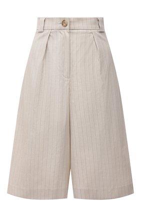 Женские хлопковые шорты LESYANEBO бежевого цвета, арт. SS21/Н-577 | Фото 1
