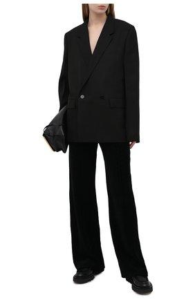 Женские хлопковые брюки BALMAIN черного цвета, арт. VF20B010/B090 | Фото 2