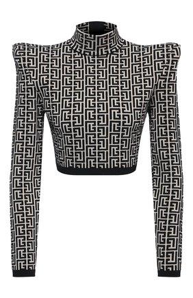 Женский топ из шерсти и вискозы BALMAIN черно-белого цвета, арт. VF0A0010/K253 | Фото 1