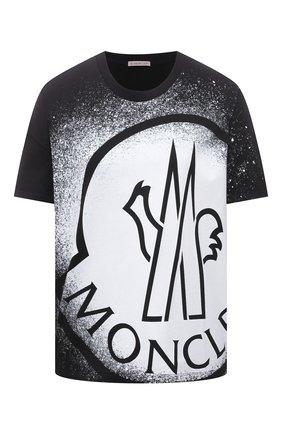 Женская хлопковая футболка MONCLER черно-белого цвета, арт. G1-093-8C7B3-10-829FB | Фото 1