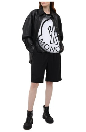 Женская хлопковая футболка MONCLER черно-белого цвета, арт. G1-093-8C7B3-10-829FB | Фото 2