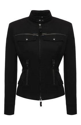 Женская хлопковая куртка TOM FORD черного цвета, арт. CS1144-FAX809 | Фото 1 (Материал внешний: Хлопок; Рукава: Длинные; Стили: Кэжуэл; Материал подклада: Шелк; Длина (верхняя одежда): Короткие)
