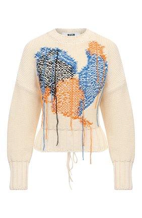 Женский хлопковый свитер MSGM кремвого цвета, арт. 3042MDM226 217488 | Фото 1