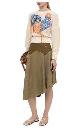 Женский хлопковый свитер MSGM кремвого цвета, арт. 3042MDM226 217488 | Фото 2