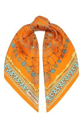 Женский шелковый платок EMILIO PUCCI оранжевого цвета, арт. 1HGB41/1HC41 | Фото 1