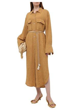 Женское платье из вискозы NANUSHKA коричневого цвета, арт. FRUMA_CAMEL_CRINKLED FSC VISC0SE SHIRTING | Фото 2