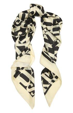 Женский шелковый платок NANUSHKA кремвого цвета, арт. MIANI_CREME BLACK TYP0_SILK   Фото 1