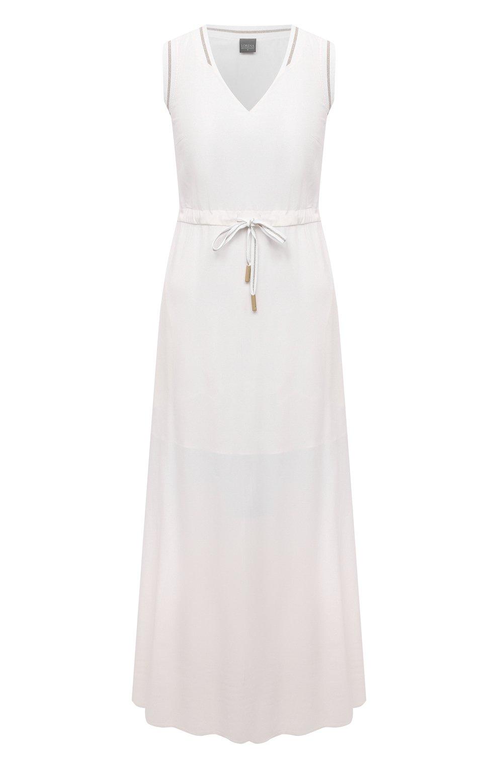 Женское платье из вискозы LORENA ANTONIAZZI белого цвета, арт. E2104AB056/2473   Фото 1