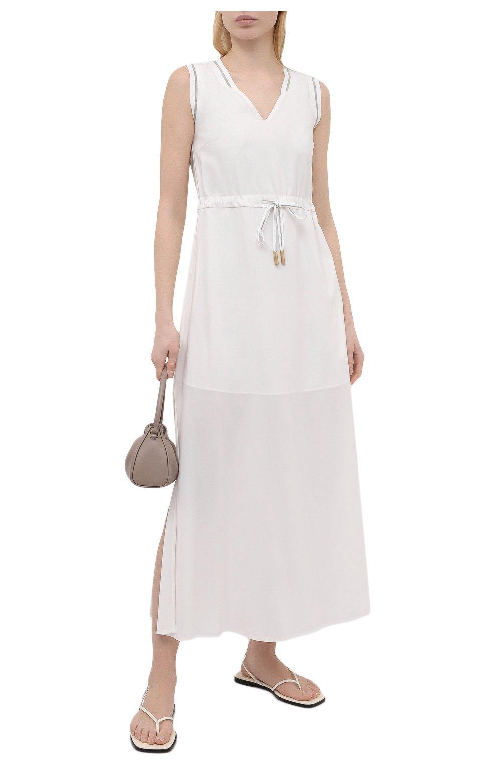 Женское платье из вискозы LORENA ANTONIAZZI белого цвета, арт. E2104AB056/2473   Фото 2