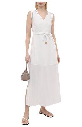 Женское платье из вискозы LORENA ANTONIAZZI белого цвета, арт. E2104AB056/2473 | Фото 2
