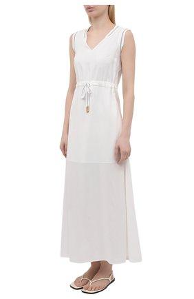 Женское платье из вискозы LORENA ANTONIAZZI белого цвета, арт. E2104AB056/2473   Фото 3