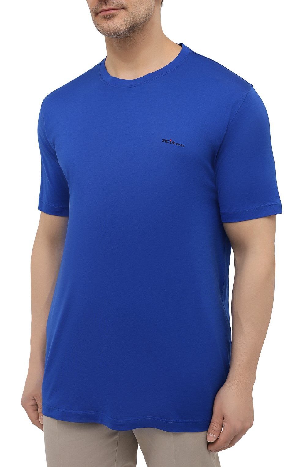 Мужская хлопковая футболка KITON синего цвета, арт. UK1274L | Фото 3