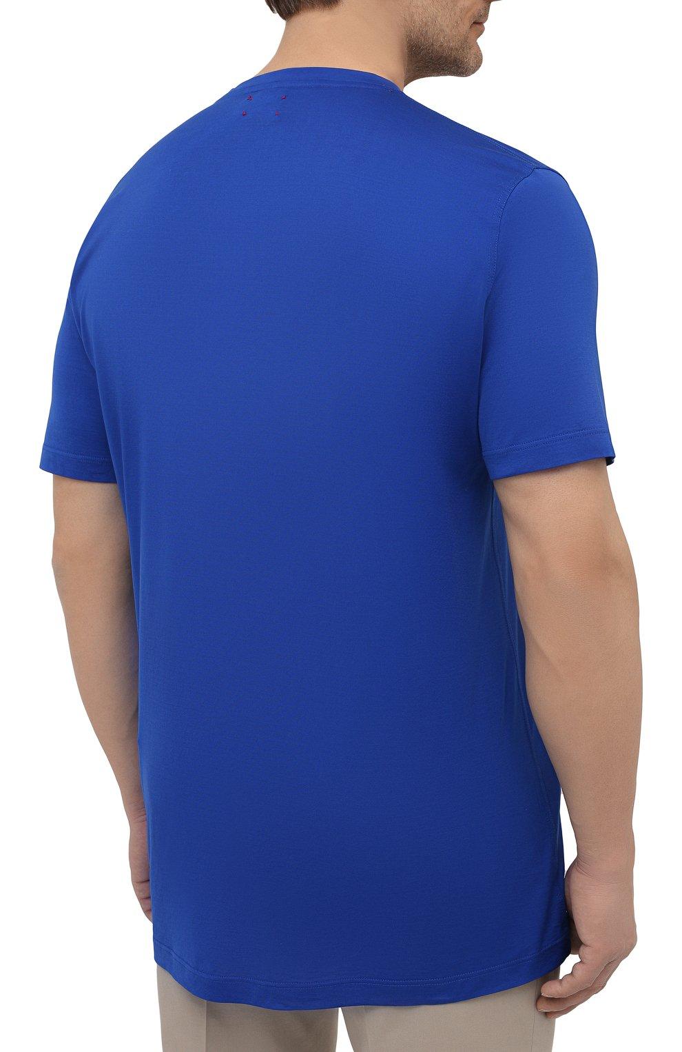 Мужская хлопковая футболка KITON синего цвета, арт. UK1274L | Фото 4