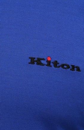 Мужская хлопковая футболка KITON синего цвета, арт. UK1274L | Фото 5