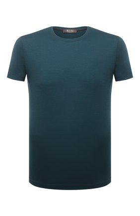 Мужская шерстяная футболка LORO PIANA темно-зеленого цвета, арт. FAF6689 | Фото 1 (Рукава: Короткие; Длина (для топов): Стандартные; Материал внешний: Шерсть; Принт: Без принта; Стили: Кэжуэл)