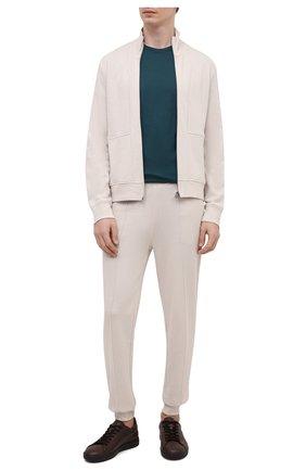 Мужская шерстяная футболка LORO PIANA темно-зеленого цвета, арт. FAF6689 | Фото 2 (Рукава: Короткие; Длина (для топов): Стандартные; Материал внешний: Шерсть; Принт: Без принта; Стили: Кэжуэл)
