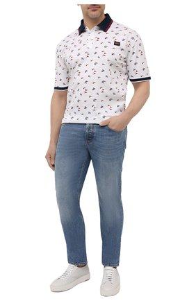Мужское хлопковое поло PAUL&SHARK белого цвета, арт. 21411256/C00/3XL-6XL | Фото 2 (Материал внешний: Хлопок; Длина (для топов): Удлиненные; Рукава: Короткие; Стили: Кэжуэл; Застежка: Пуговицы)