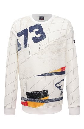 Мужской хлопковый свитшот PAUL&SHARK белого цвета, арт. 21411907/C00/3XL-6XL | Фото 1 (Длина (для топов): Удлиненные; Материал внешний: Хлопок; Рукава: Длинные; Принт: С принтом; Стили: Кэжуэл; Мужское Кросс-КТ: свитшот-одежда)