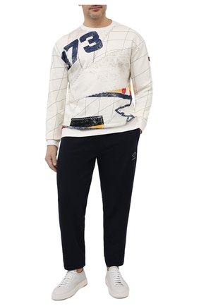 Мужской хлопковый свитшот PAUL&SHARK белого цвета, арт. 21411907/C00/3XL-6XL | Фото 2 (Длина (для топов): Удлиненные; Материал внешний: Хлопок; Рукава: Длинные; Принт: С принтом; Стили: Кэжуэл; Мужское Кросс-КТ: свитшот-одежда)