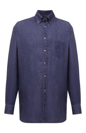 Мужская льняная рубашка PAUL&SHARK синего цвета, арт. 21413030/F7E | Фото 1 (Материал внешний: Лен; Рукава: Длинные; Рубашки М: Regular Fit; Случай: Повседневный; Принт: Однотонные; Big sizes: Big Sizes; Воротник: Button down; Манжеты: На пуговицах; Стили: Кэжуэл; Длина (для топов): Удлиненные)