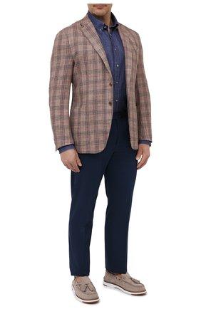 Мужская льняная рубашка PAUL&SHARK синего цвета, арт. 21413030/F7E | Фото 2 (Материал внешний: Лен; Рукава: Длинные; Рубашки М: Regular Fit; Случай: Повседневный; Принт: Однотонные; Big sizes: Big Sizes; Воротник: Button down; Манжеты: На пуговицах; Стили: Кэжуэл; Длина (для топов): Удлиненные)