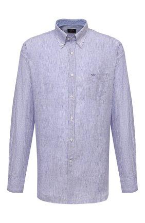 Мужская льняная рубашка PAUL&SHARK голубого цвета, арт. 21413066/F7E | Фото 1 (Материал внешний: Лен; Рукава: Длинные; Принт: Полоска; Big sizes: Big Sizes; Воротник: Button down; Стили: Кэжуэл; Манжеты: На пуговицах; Случай: Повседневный; Рубашки М: Regular Fit; Длина (для топов): Удлиненные)