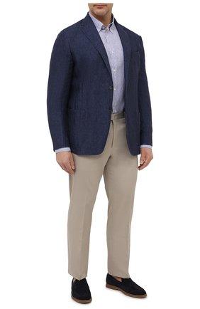 Мужская льняная рубашка PAUL&SHARK голубого цвета, арт. 21413066/F7E | Фото 2 (Материал внешний: Лен; Рукава: Длинные; Принт: Полоска; Big sizes: Big Sizes; Воротник: Button down; Стили: Кэжуэл; Манжеты: На пуговицах; Случай: Повседневный; Рубашки М: Regular Fit; Длина (для топов): Удлиненные)