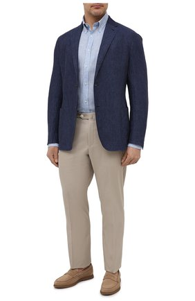 Мужская льняная рубашка PAUL&SHARK голубого цвета, арт. 21413108/F7E | Фото 2