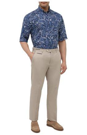 Мужская льняная рубашка PAUL&SHARK синего цвета, арт. 21413427/F7E | Фото 2