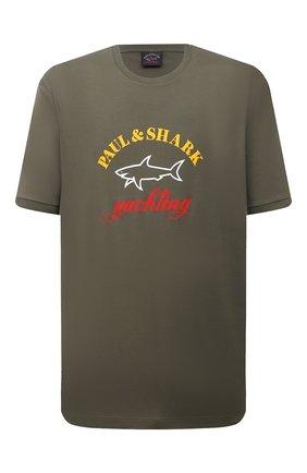 Мужская хлопковая футболка PAUL&SHARK хаки цвета, арт. C0P1006/C00/3XL-6XL | Фото 1
