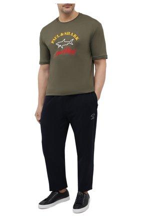 Мужская хлопковая футболка PAUL&SHARK хаки цвета, арт. C0P1006/C00/3XL-6XL | Фото 2