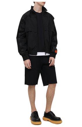 Мужские хлопковые шорты HERON PRESTON черного цвета, арт. HMCB009S21FAB0011001 | Фото 2
