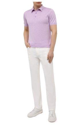 Мужское поло из шелка и льна SVEVO сиреневого цвета, арт. 6407SE21/MP64   Фото 2