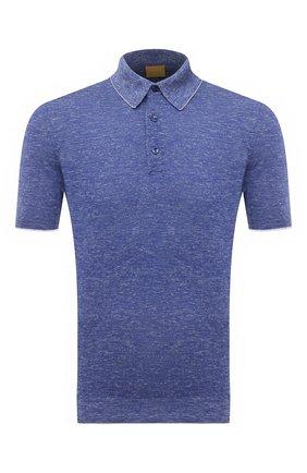 Мужское поло из шелка и льна SVEVO синего цвета, арт. 6407SE21/MP64 | Фото 1