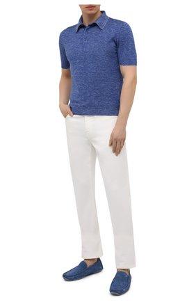 Мужское поло из шелка и льна SVEVO синего цвета, арт. 6407SE21/MP64 | Фото 2