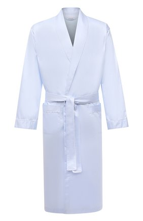 Мужской хлопковый халат ZIMMERLI голубого цвета, арт. 4737-75141 | Фото 1 (Материал внешний: Хлопок; Рукава: Длинные; Длина (верхняя одежда): Длинные; Кросс-КТ: домашняя одежда)