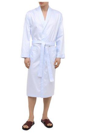 Мужской хлопковый халат ZIMMERLI голубого цвета, арт. 4737-75141 | Фото 2 (Материал внешний: Хлопок; Рукава: Длинные; Длина (верхняя одежда): Длинные; Кросс-КТ: домашняя одежда)