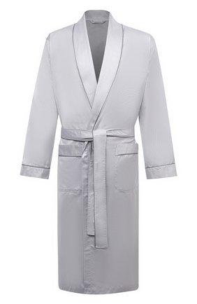 Мужской хлопковый халат ZIMMERLI светло-серого цвета, арт. 4737-75141 | Фото 1 (Рукава: Длинные; Материал внешний: Хлопок; Длина (верхняя одежда): Длинные; Кросс-КТ: домашняя одежда)