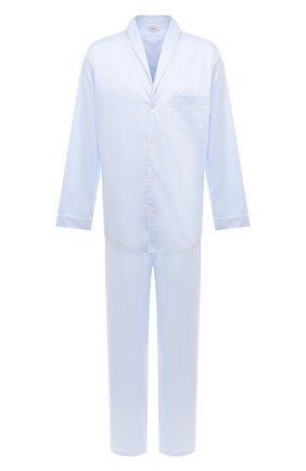 Мужская хлопковая пижама ZIMMERLI голубого цвета, арт. 4737-75016 | Фото 1 (Рукава: Длинные; Длина (для топов): Стандартные; Материал внешний: Хлопок; Кросс-КТ: домашняя одежда; Длина (брюки, джинсы): Укороченные)