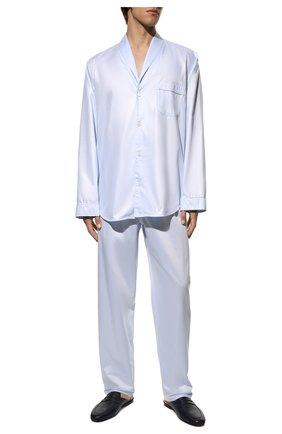 Мужская хлопковая пижама ZIMMERLI голубого цвета, арт. 4737-75016 | Фото 2 (Рукава: Длинные; Длина (для топов): Стандартные; Материал внешний: Хлопок; Кросс-КТ: домашняя одежда; Длина (брюки, джинсы): Укороченные)