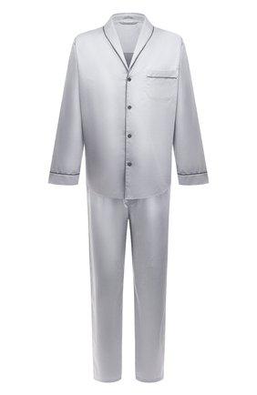 Мужская хлопковая пижама ZIMMERLI светло-серого цвета, арт. 4737-75016 | Фото 1 (Рукава: Длинные; Длина (для топов): Стандартные; Материал внешний: Хлопок; Кросс-КТ: домашняя одежда; Длина (брюки, джинсы): Укороченные)