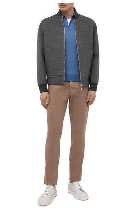 Мужское шерстяное поло CRUCIANI голубого цвета, арт. CU26.205 | Фото 2