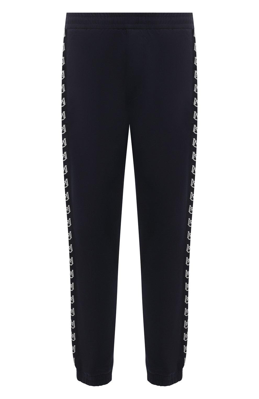 Мужские хлопковые джоггеры MONCLER темно-синего цвета, арт. G1-091-2A765-00-57448   Фото 1 (Длина (брюки, джинсы): Стандартные; Материал внешний: Хлопок; Стили: Спорт-шик; Силуэт М (брюки): Джоггеры)