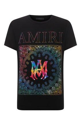 Мужская хлопковая футболка AMIRI черного цвета, арт. MJGT011-001 | Фото 1 (Рукава: Короткие; Длина (для топов): Стандартные; Материал внешний: Хлопок; Принт: С принтом; Стили: Бохо)