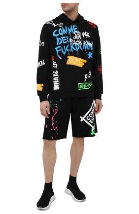 Мужские хлопковые шорты COMME DES FUCKDOWN черного цвета, арт. CDFU1127 | Фото 2