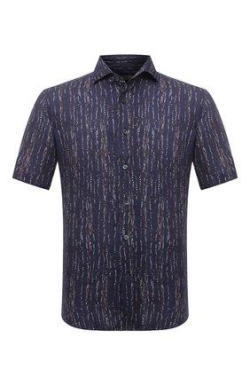 Мужская льняная рубашка CORNELIANI темно-синего цвета, арт. 87I126-1111958/00 | Фото 1