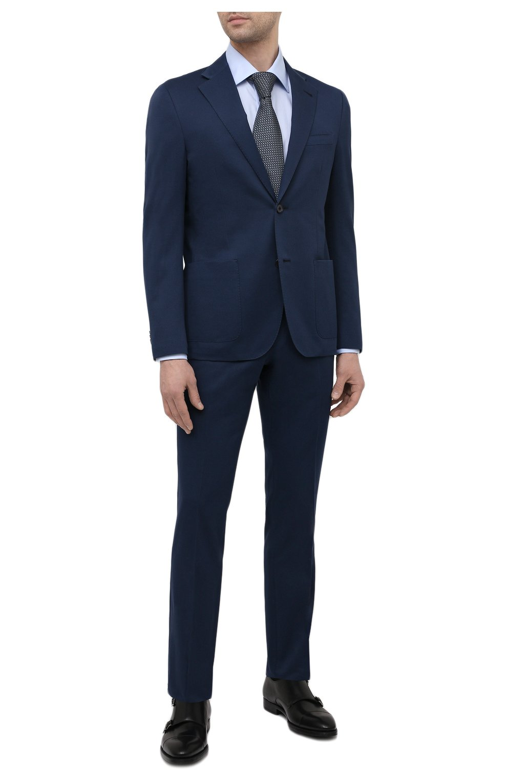Мужской костюм из хлопка и кашемира CORNELIANI темно-синего цвета, арт. 87NY76-1114105/92 | Фото 1 (Рукава: Длинные; Костюмы М: Однобортный; Материал внешний: Хлопок; Стили: Классический; Материал подклада: Вискоза)