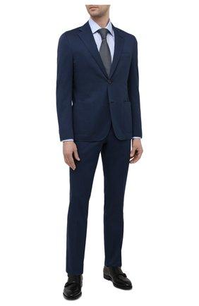 Мужской костюм из хлопка и кашемира CORNELIANI темно-синего цвета, арт. 87NY76-1114105/92 | Фото 1 (Материал подклада: Вискоза; Материал внешний: Хлопок; Рукава: Длинные; Стили: Классический; Костюмы М: Однобортный)