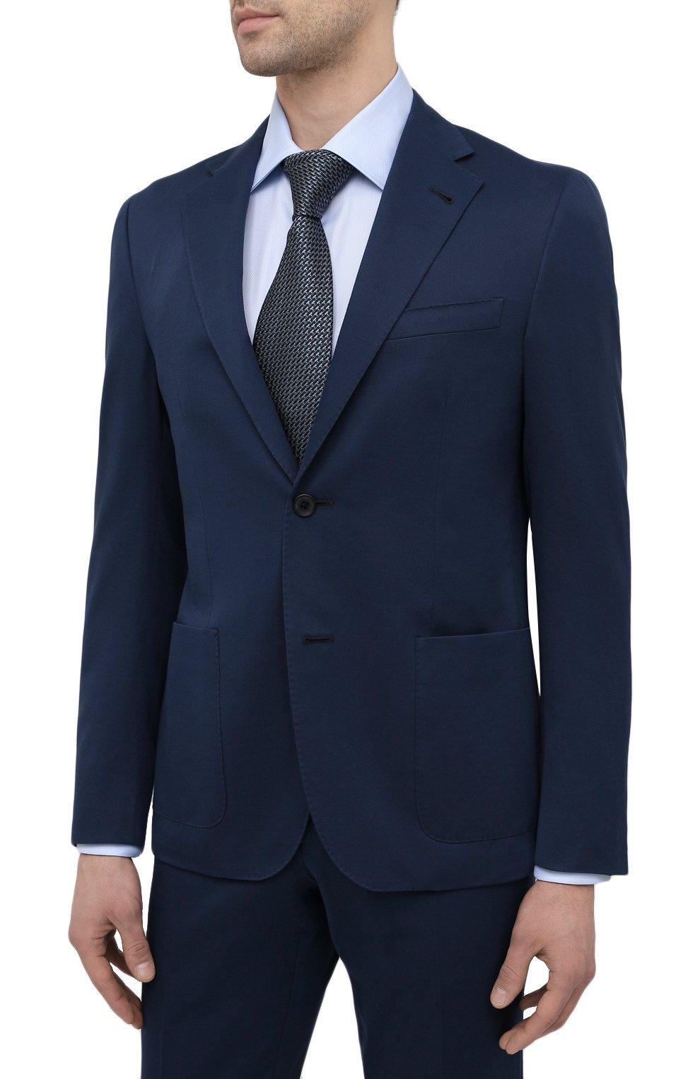 Мужской костюм из хлопка и кашемира CORNELIANI темно-синего цвета, арт. 87NY76-1114105/92 | Фото 2 (Рукава: Длинные; Костюмы М: Однобортный; Материал внешний: Хлопок; Стили: Классический; Материал подклада: Вискоза)